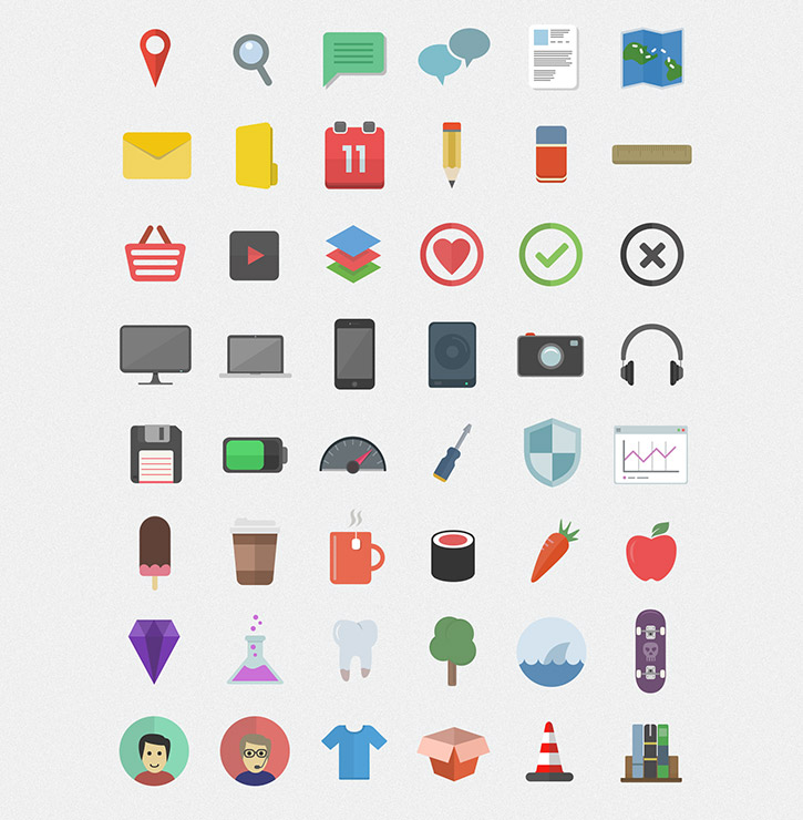 Flatilicious 48 Flat Icons by Pixel Fabric