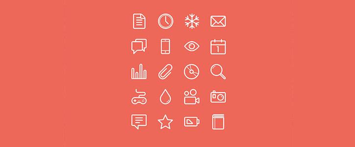 Flat Stroke Line Icons Set Vol 1